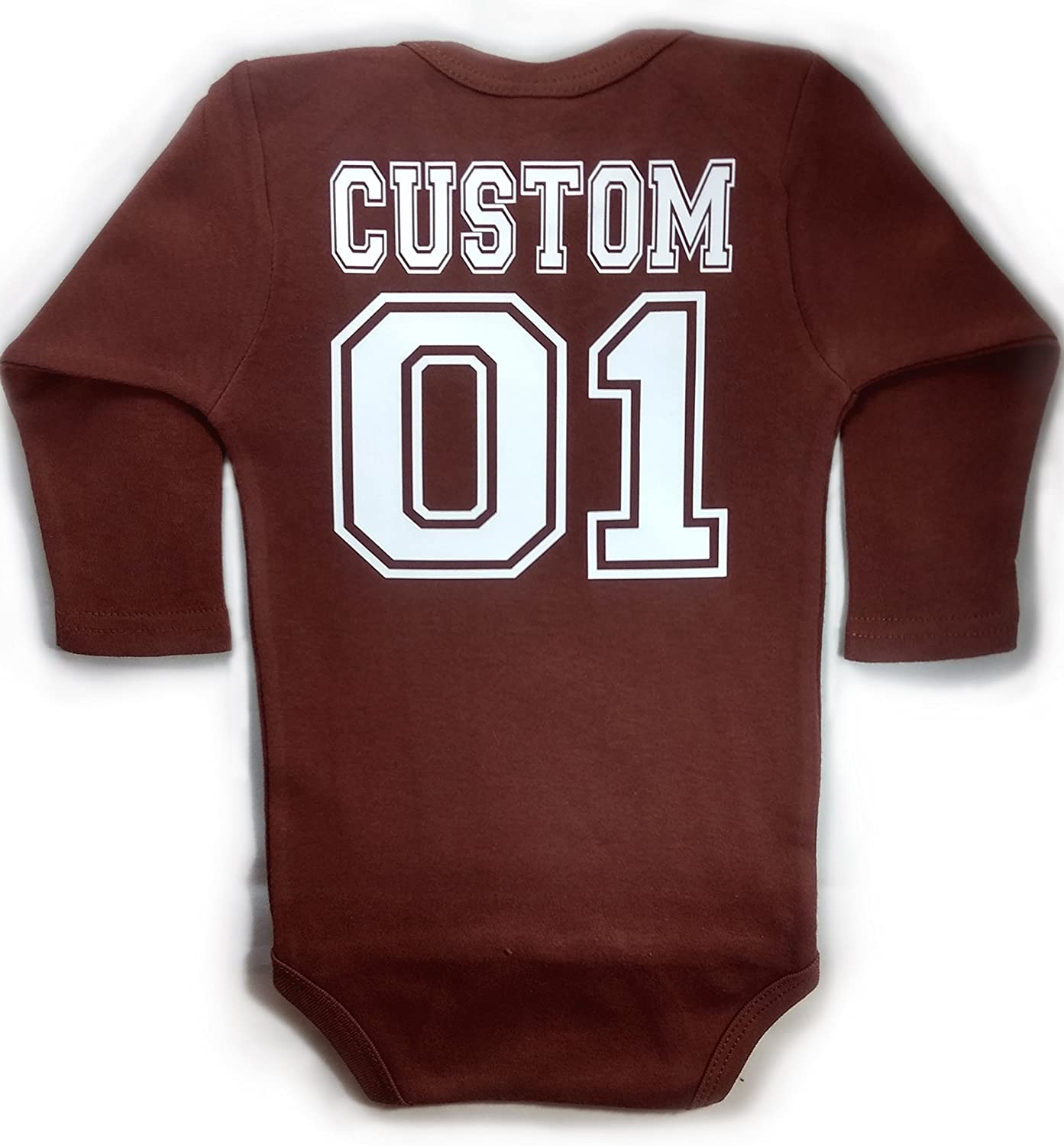 Chamuco Customs Baby Football Long Sleeve with Custom Personalized Back Baby Bodysuit Brown Unisex