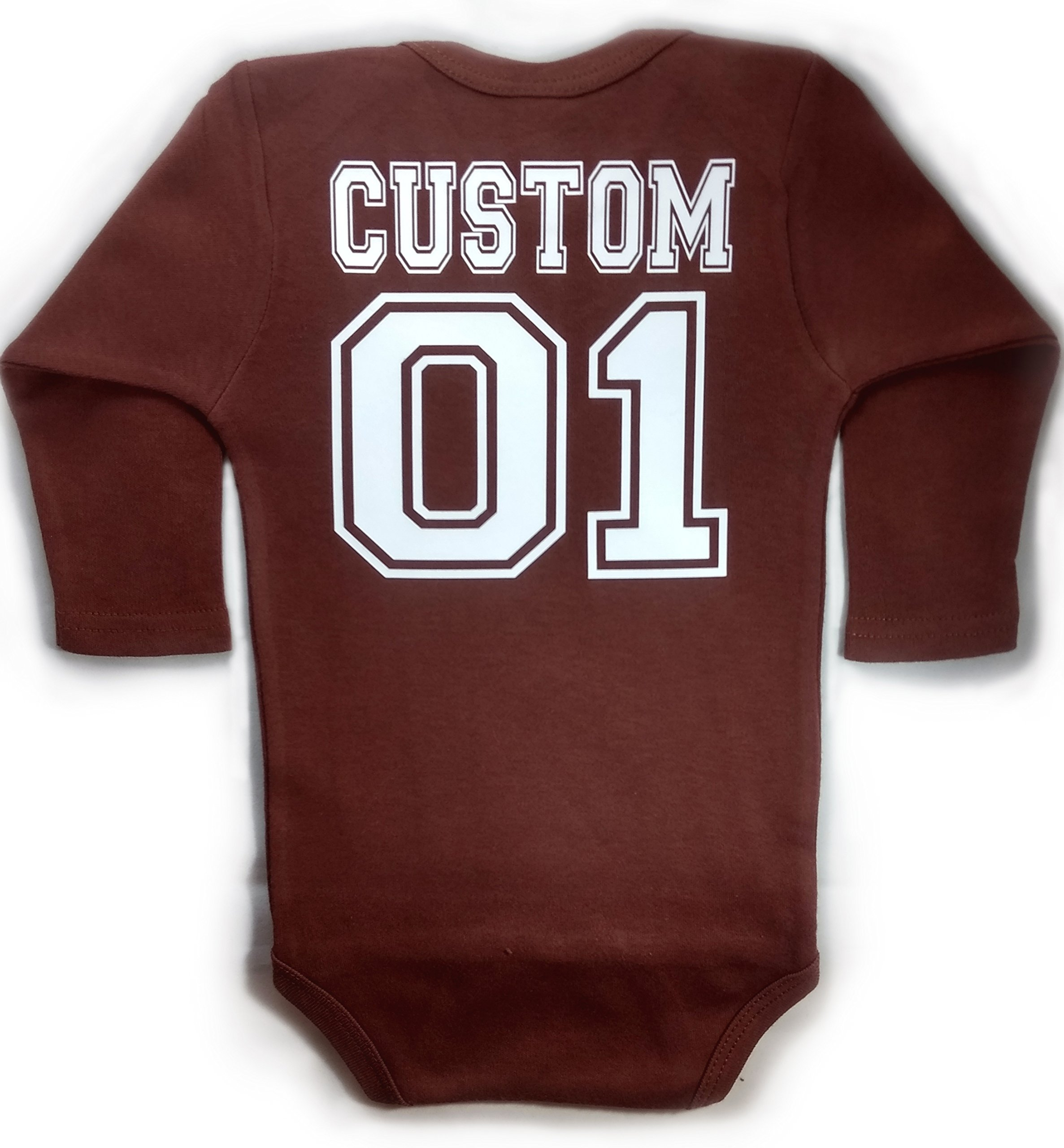 Baby Football LONG SLEEVE with CUSTOM Personalized Back Baby Bodysuit Brown Unisex (12-18 months (Large))