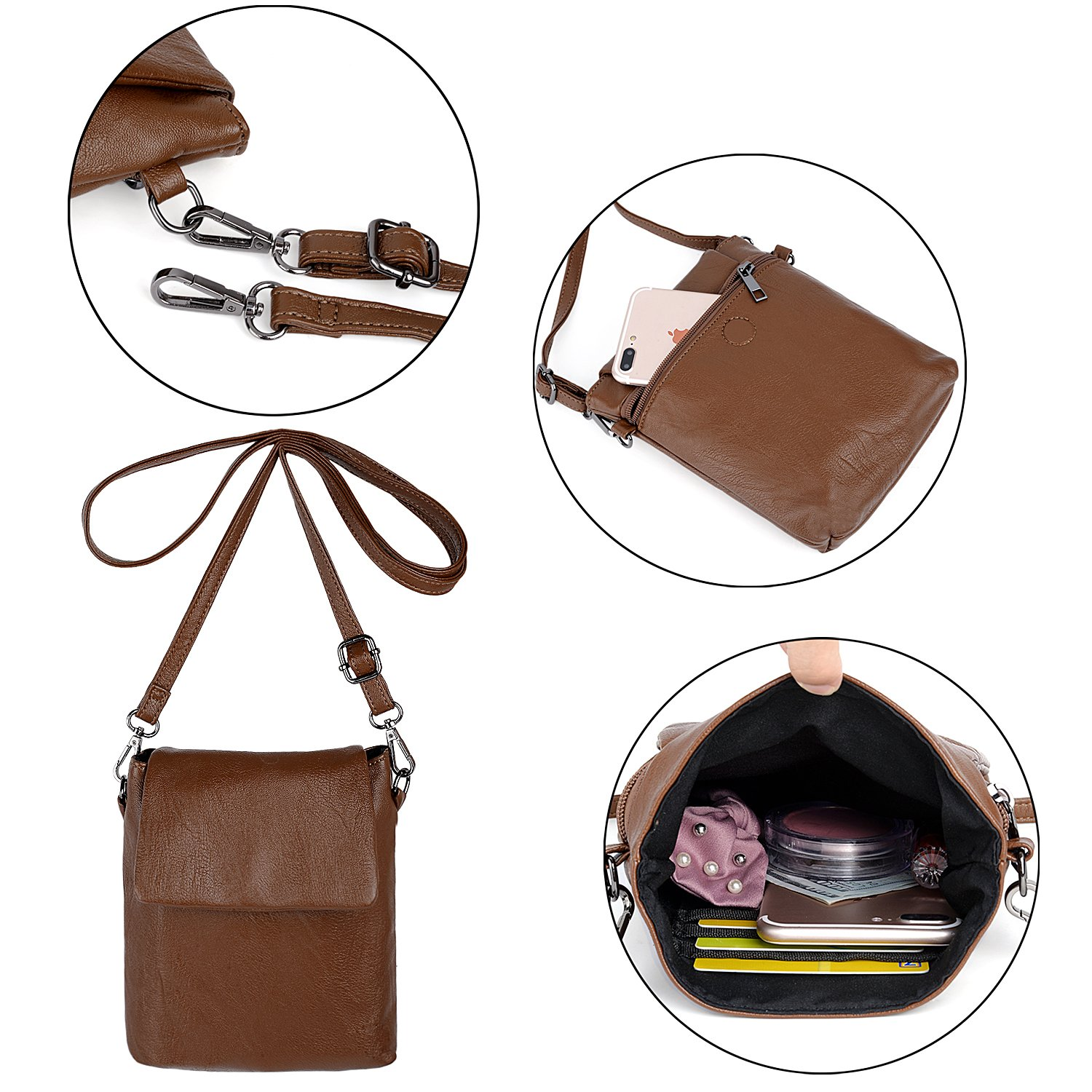 UTO Women Backpack Purse PU Washed Leather Ladies Rucksack Detachable Crossbody Shoulder Bag B Brown by UTO (Image #5)