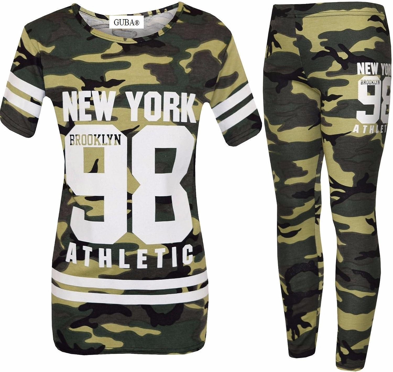 Girls NEW YORK BROOKLYN 98 ATHLECTIC Camouflage Print Top /& Legging Set 7-13 Yr