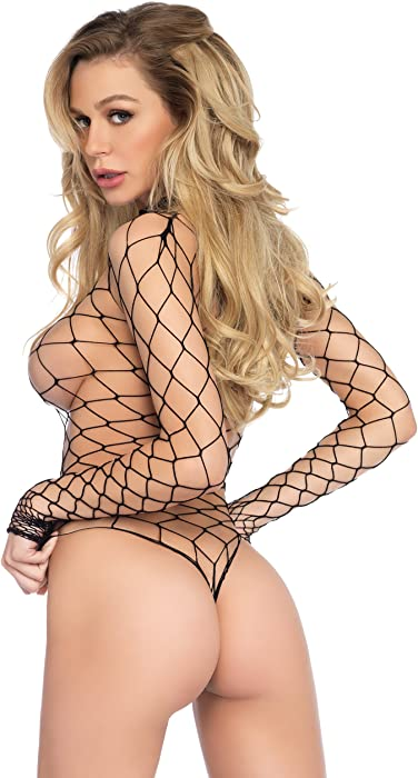 610891bcf3f comLeg Avenue Women s High Neck Fence Net Long Sleeved Bodysuit Snap Crotch  Thong