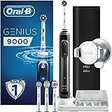 Oral-B Genius9000N CrossAction Brosse à Dents Électrique Rechargeable, 1Manche Connecté Noir, 6Modes, 4Brossettes, 1Étui de Voyage USB