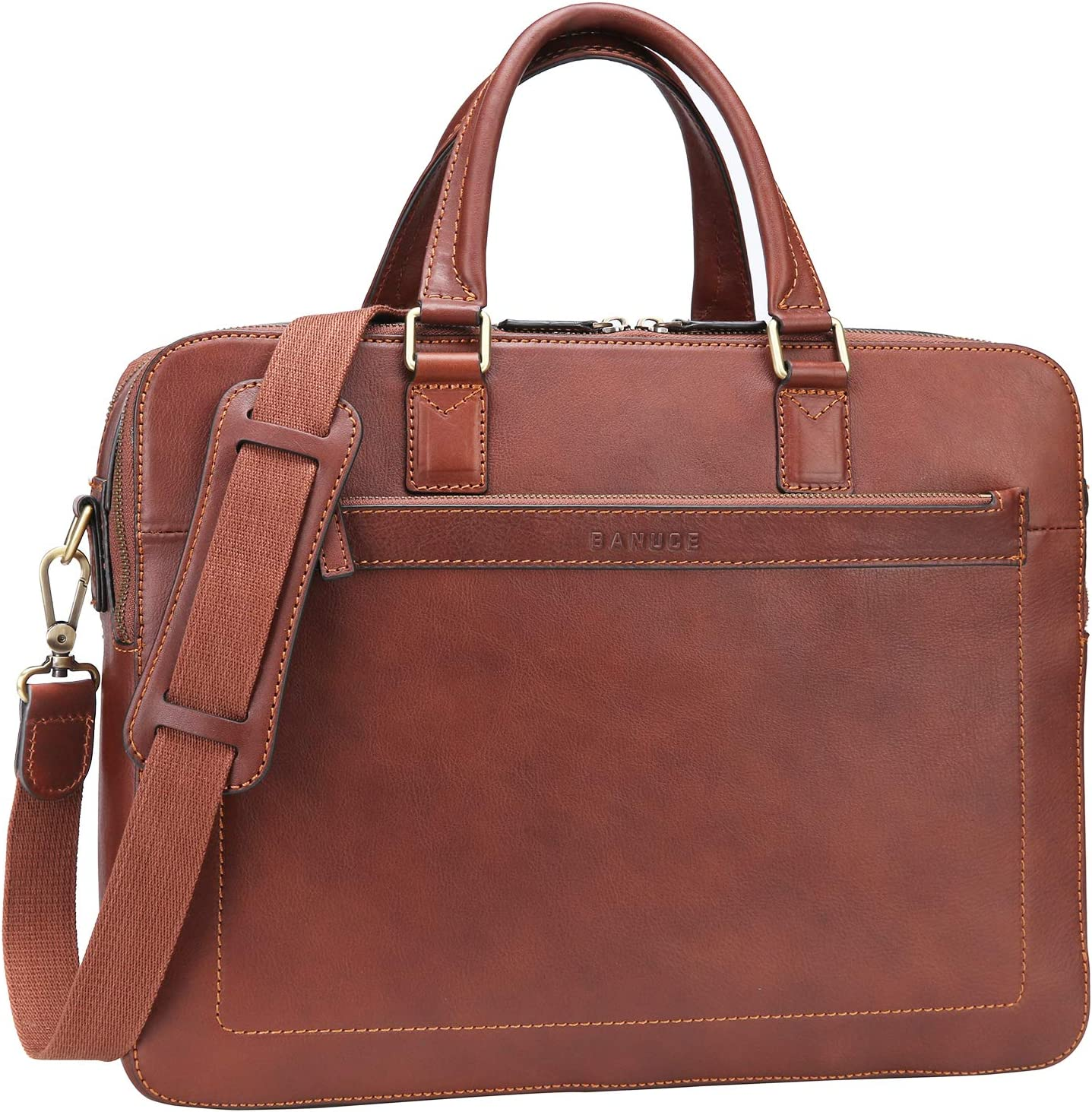 Banuce Vintage Full Grains Leather Briefcase for Men 14 Inch Laptop Business Handbags Attache Case Shoulder Messenger Bag Brown