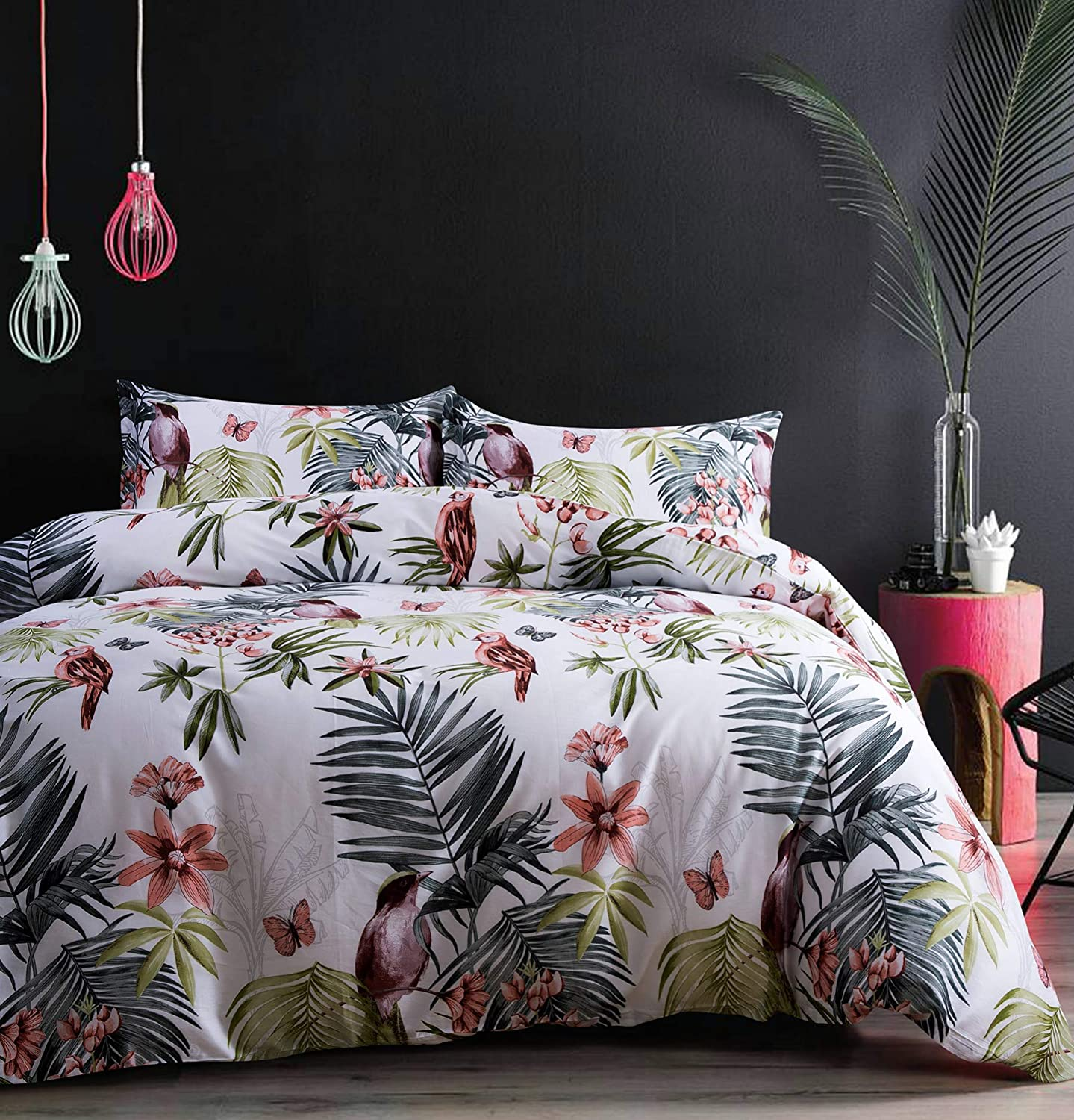 Eikei Palm Leaves Duvet Cover and Pillowcases Set Tropical Exotic Island Flowers Trees Branches Paradise Birds Bedding Jungle Plants Modern Botanical Print Long Staple Cotton (White, Super King)
