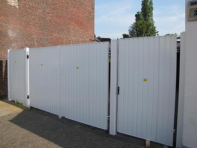 Puerta corredera llena de chapa trapezoidal 3,5 x 1,45 m, incluye accionamiento eléctrico: Amazon.es: Bricolaje y herramientas