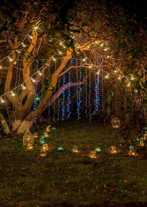 Romántico árbol de luz Noche Jardín Photography velas sobre césped Beautiful Neon Photo Studio Antecedentes 5 x 7 ft: Amazon.es: Electrónica