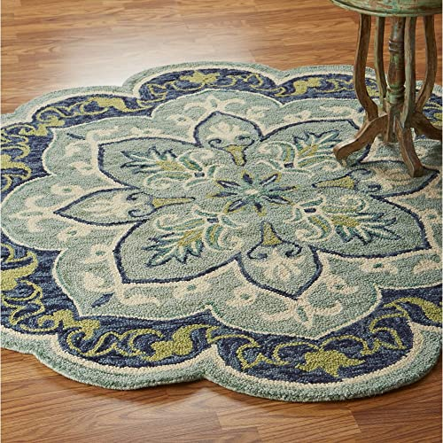 LR Home Dazzle Area Rug, 6 Round, Teal