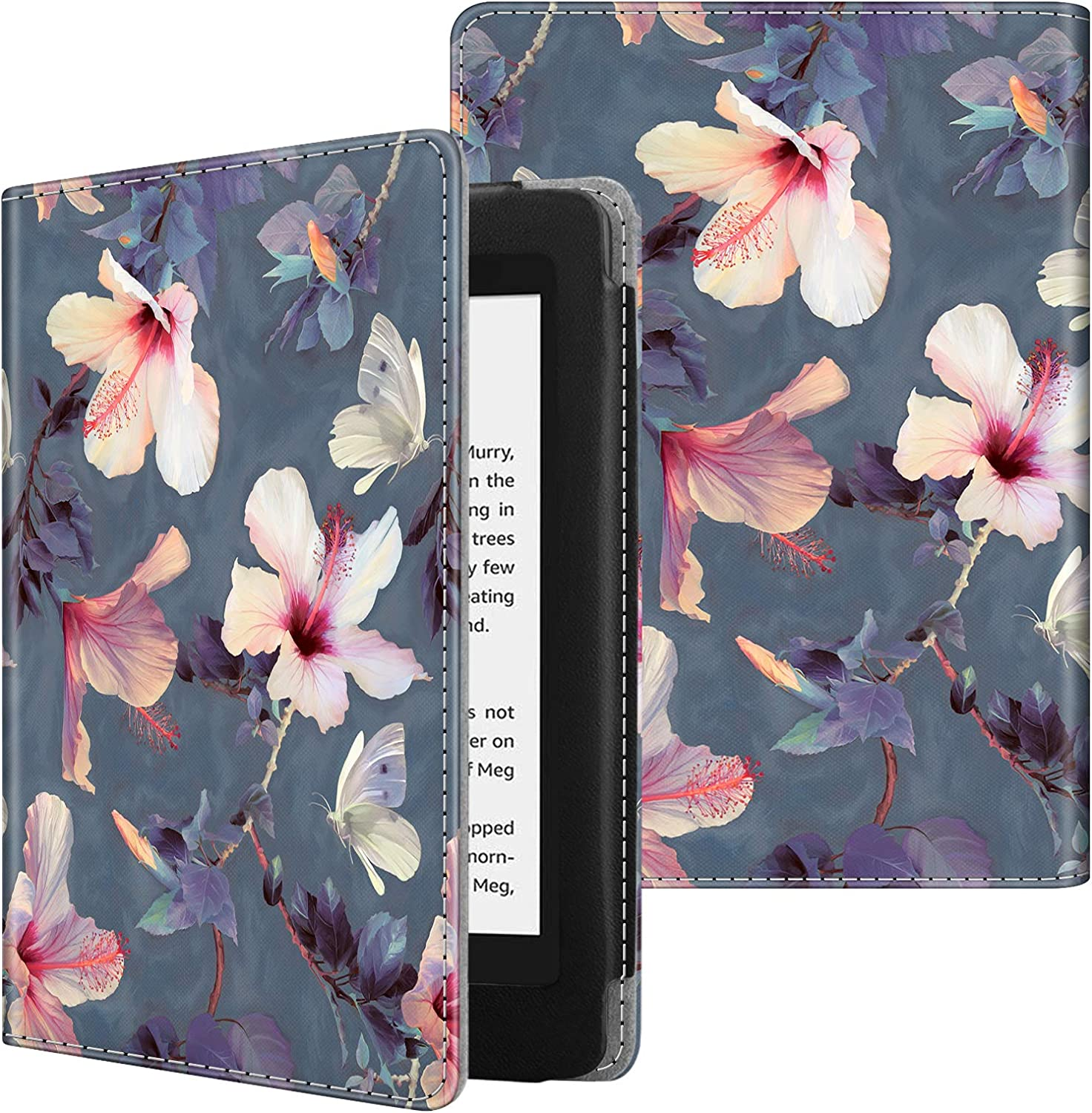 Fintie Folio Case for Kindle Paperwhite (Fits All-New 10th Generation 2018 / All Paperwhite Generations) - Book Style Vegan Leather Shockproof Cover with Auto Sleep/Wake, Blooming Hibiscus