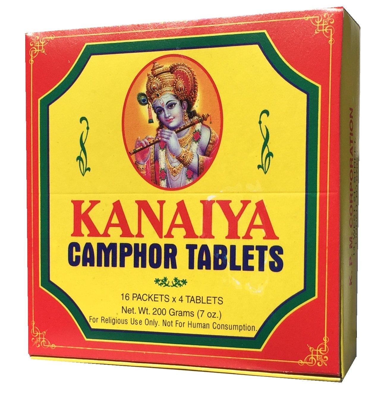 Kanaiya Camphor Tablets from India - 200 Grams - 64 Tablets (16 Blocks of 4) Brand by Kanaiya
