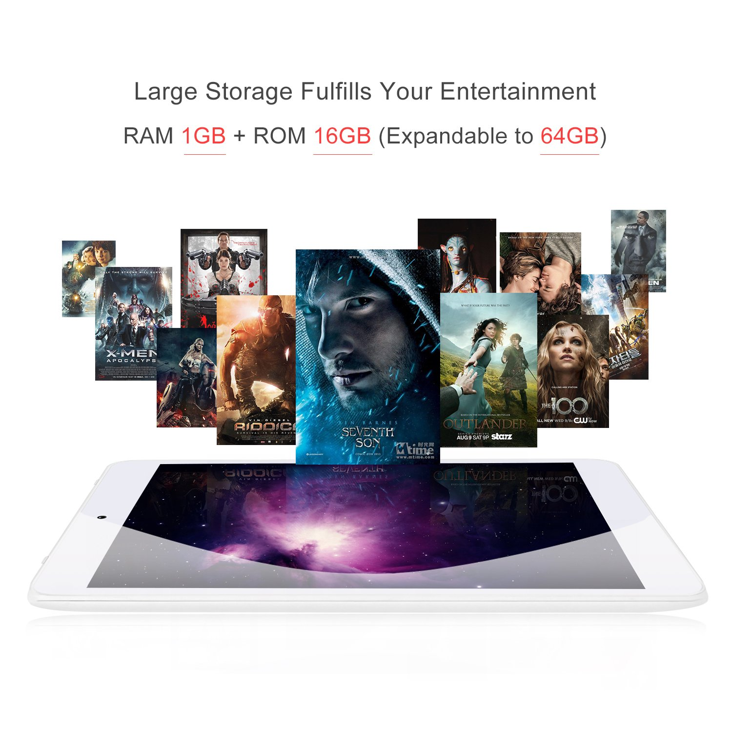 """7.85"""" Tablet Android Google 7.0, 1GB/16GB, 1.3gHz Quad Core,768x1024 IPS HD Display,Dual Camera, Microsoft Mini HDMI Bluetooth G-Sensor Supported,GMS Certified,iRULU eXpro 5 S Tablet (X5 S)-White by iRULU (Image #5)"""