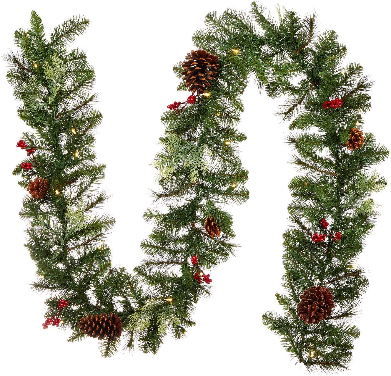Amazon Com Noma Pre Lit 9 Ft Led Berries Pinecones Christmas Garland With Battery Operated Lights 35 Warm White Bulbs 195 Pine Tips Preston Home Kitchen