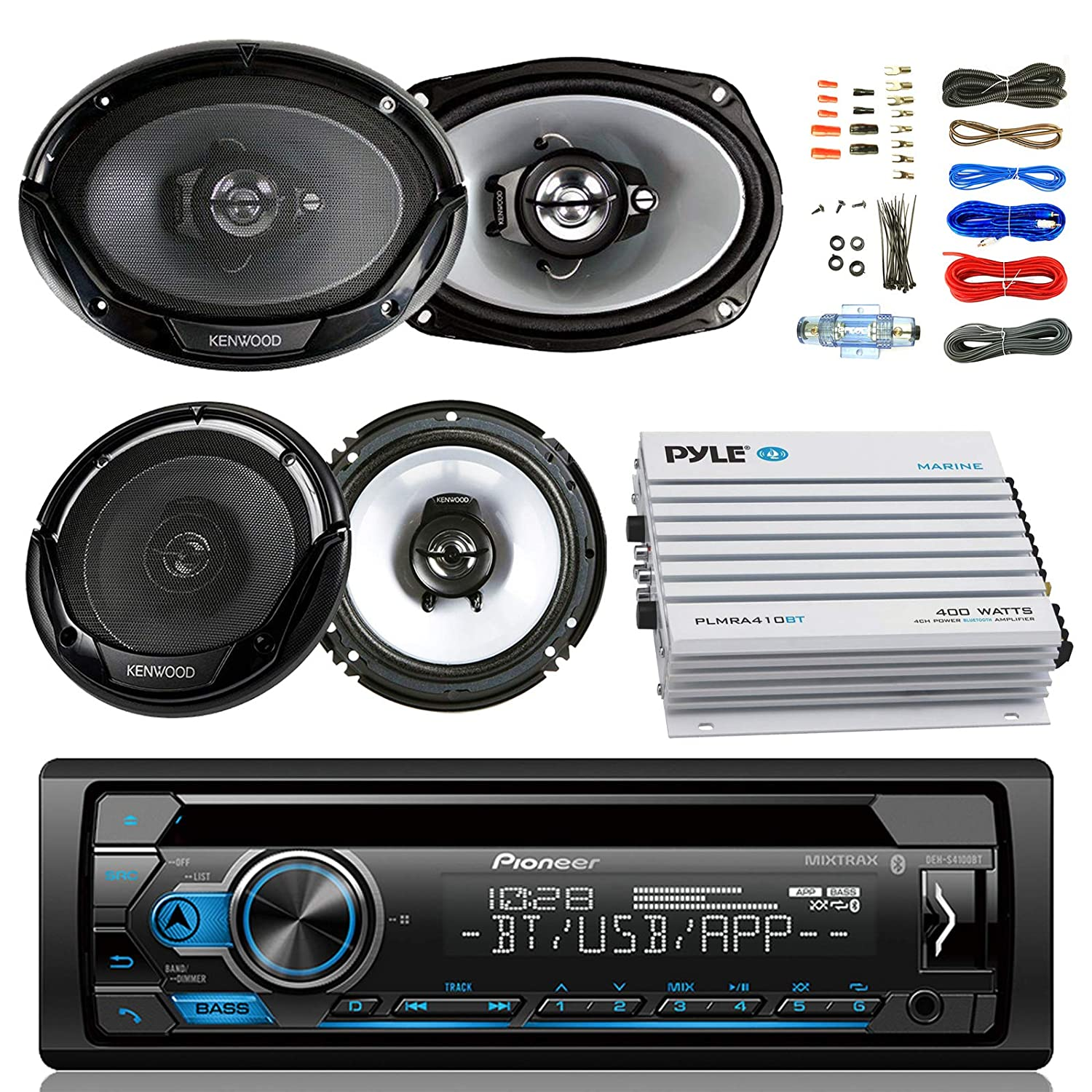pioneer deh-s4100bt car bluetooth radio usb aux cd player receiver - bundle  combo with 2x kenwood 6 5