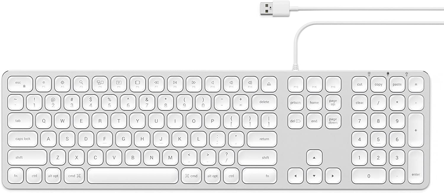 Satechi Aluminum USB Wired Keyboard with Numeric Keypad - Compatible with iMac Pro, iMac, 2018 Mac Mini, 2018 MacBook Pro/Air and MacOS Devices (English, Silver)