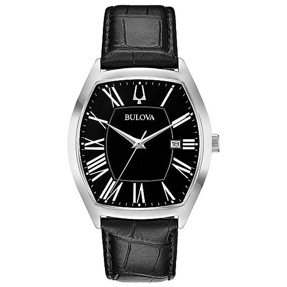 51bbbb1e6160 Bulova Men's Quartz Stainless Steel and Leather Dress Watch, Color:Black  (Model: 96B290): Bulova: Amazon.ca: Watches