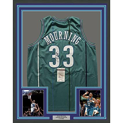 4a265c15f24 Image Unavailable. Image not available for. Color: Alonzo Mourning Autographed  Jersey - FRAMED 33x42 Hornets Teal COA - JSA Certified - Autographed NBA