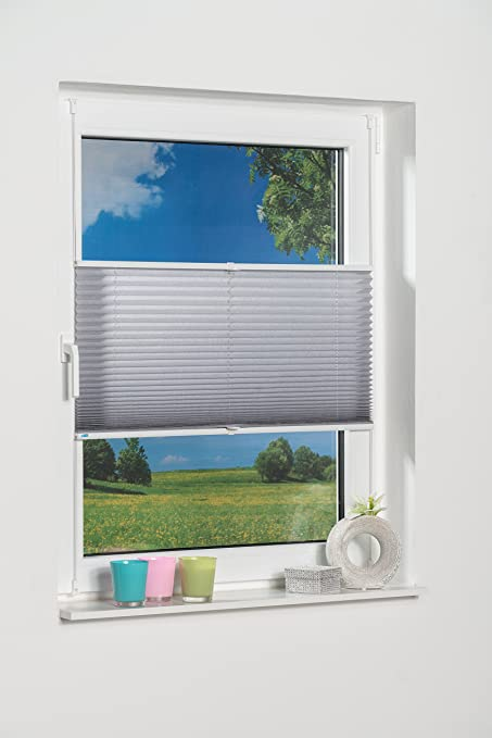 grey 40 x 210 cm K- Home Klemmfix Plissee Palma Polyester