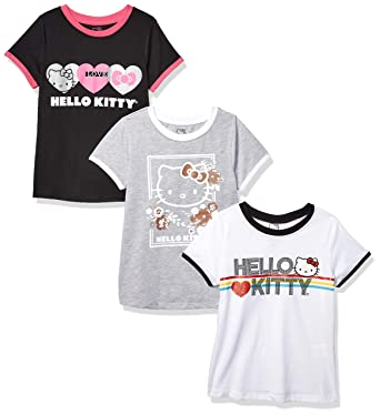 Hello Kitty Big Girls 3 Pack T Shirt Black White Gray