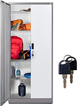 Steel Storage Cabinet 71 Tall With Lockable Doors And Adjustable Shelves Choose Color 70 86 Tall X 31 5 W X 15 75 D By Fedmax Gray Amazon Co Uk Office Products