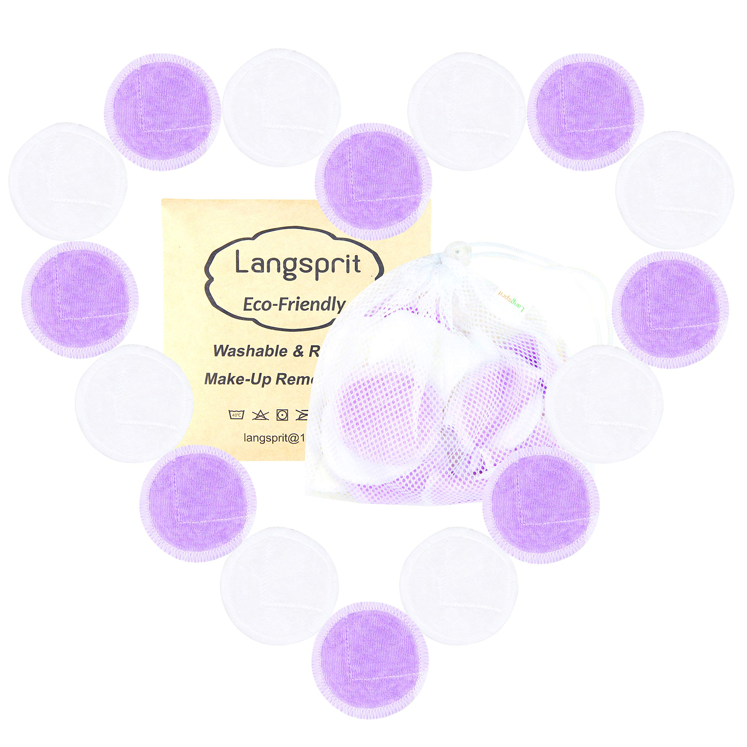 Langsprit Reusable Makeup Remover Pads 16 Packs,Organic Bamboo Velour Face Pads,Facial Rounds,Velour Face pads Cleansing Wipe Cloth with free Laundry Bag(Bamboo Velour)