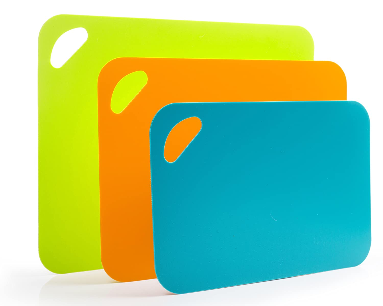 Flexible Cutting Board Mat Set, Extra Thick Plastic with Non-Slip Textured Grip for Chopping, 3 Convenient Sizes by DeVeau Essentials