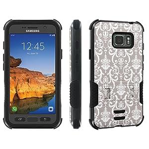 Galaxy Active S7 [AT&T] Tough Case [Skinguardz] [Black/Black] ShockProof Armor [Kick Stand] - [Gray Retro] for Samsung Galaxy [S7 Active]