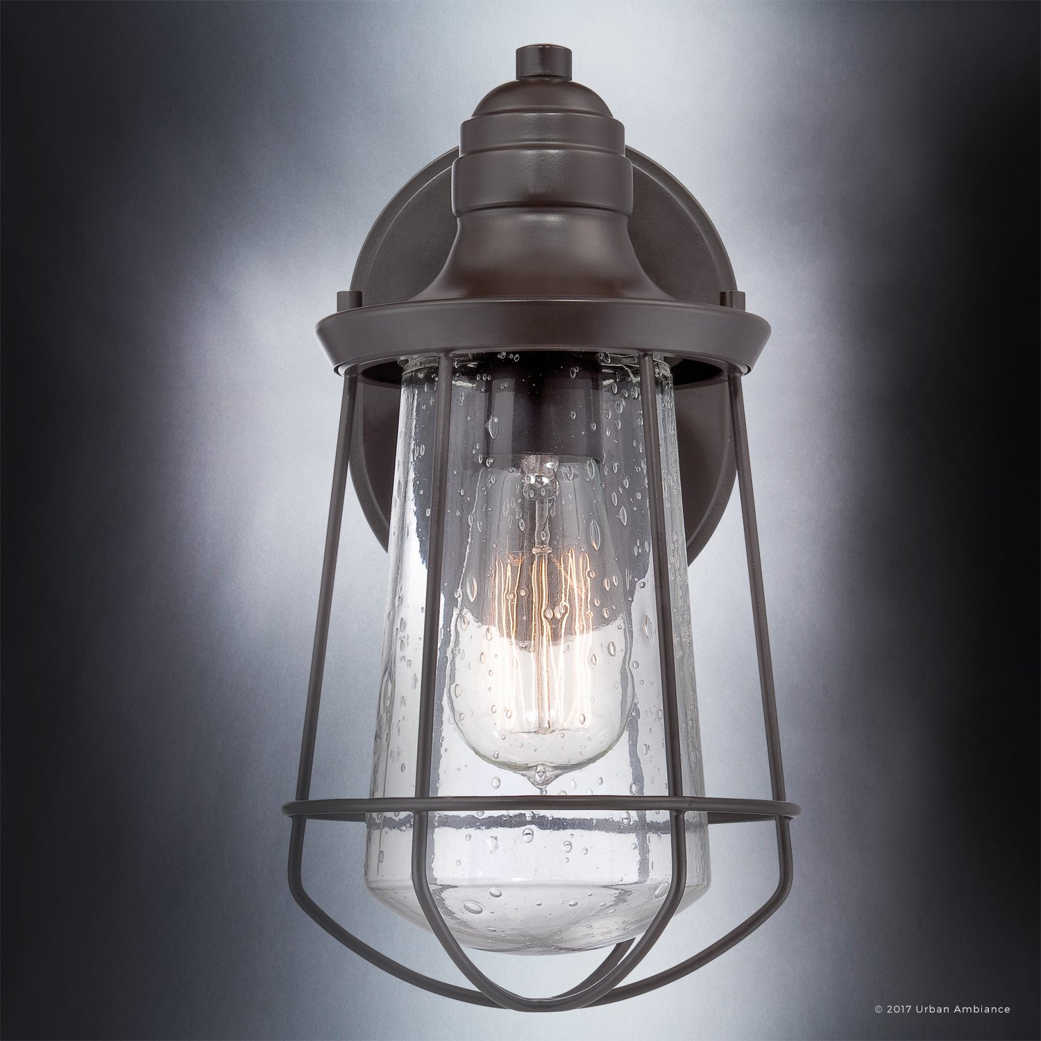 Luxury Vintage Outdoor Wall Light, Small Size: 11.25''H x 6.25''W, with Nautical Style Elements, Cage Design, Estate Bronze Finish and Seeded Glass, Includes Edison Bulb, UQL1120 by Urban Ambiance by Urban Ambiance (Image #5)