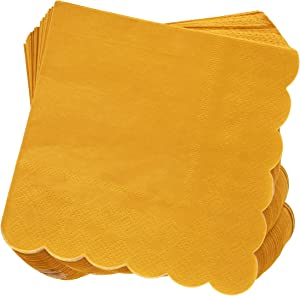 Scalloped Edged Cocktail Napkins (5 x 5 In, Mustard Yellow, 100-Pack)