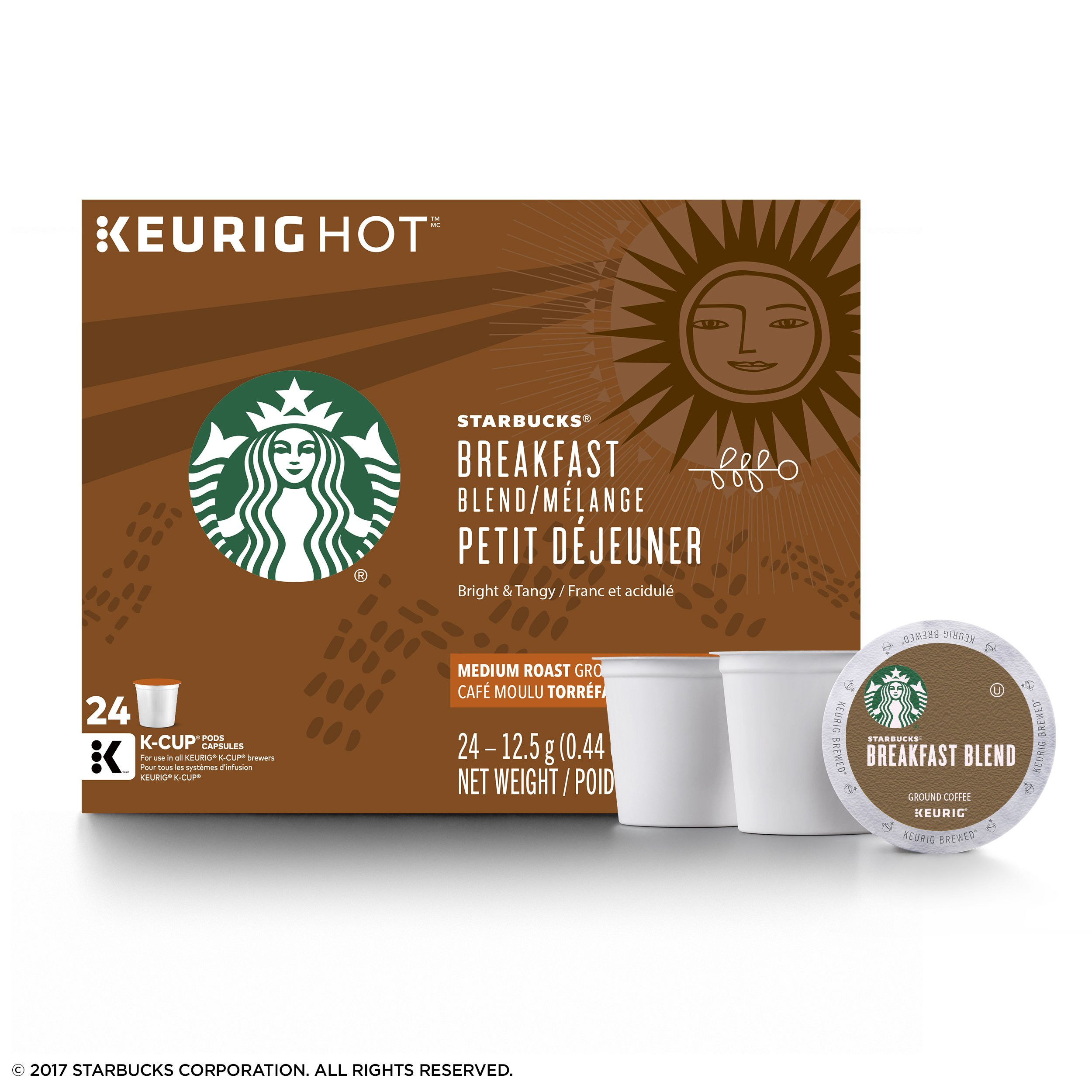 Starbucks Breakfast Blend Medium Roast Single Cup Coffee for Keurig Brewers, 4 Boxes of 24 (96 Total K-Cup pods) by Starbucks