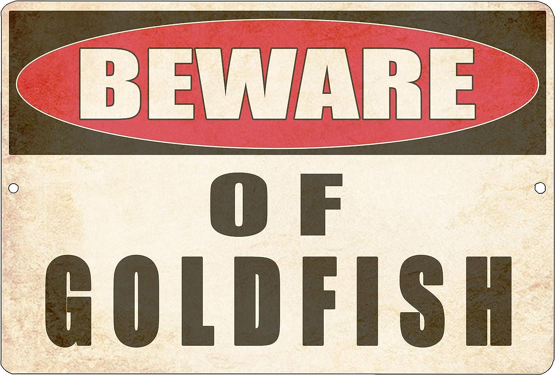 Rogue River Tactical Funny Sarcastic Metal Tin Sign Wall Decor Man Cave Bar Yard Wall Warning Beware of Goldfish