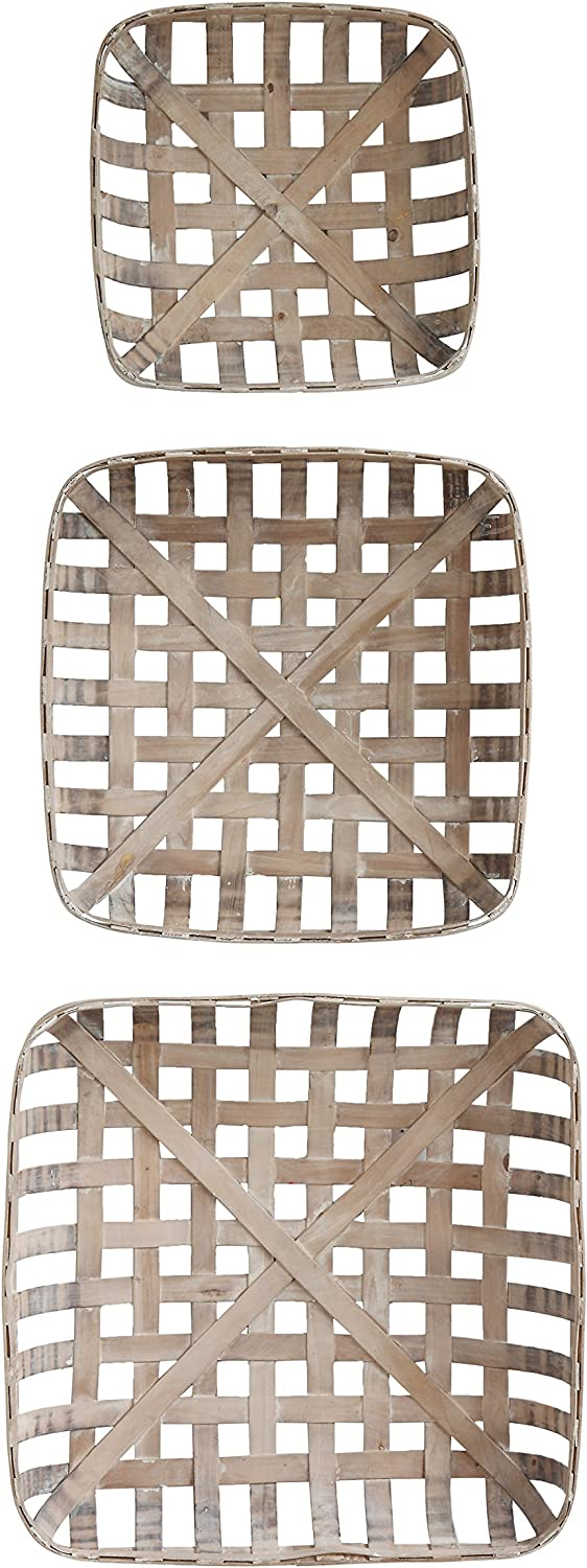 Creative Co-Op DA8528 Set of 3 Square Reproduction Tobacco Baskets
