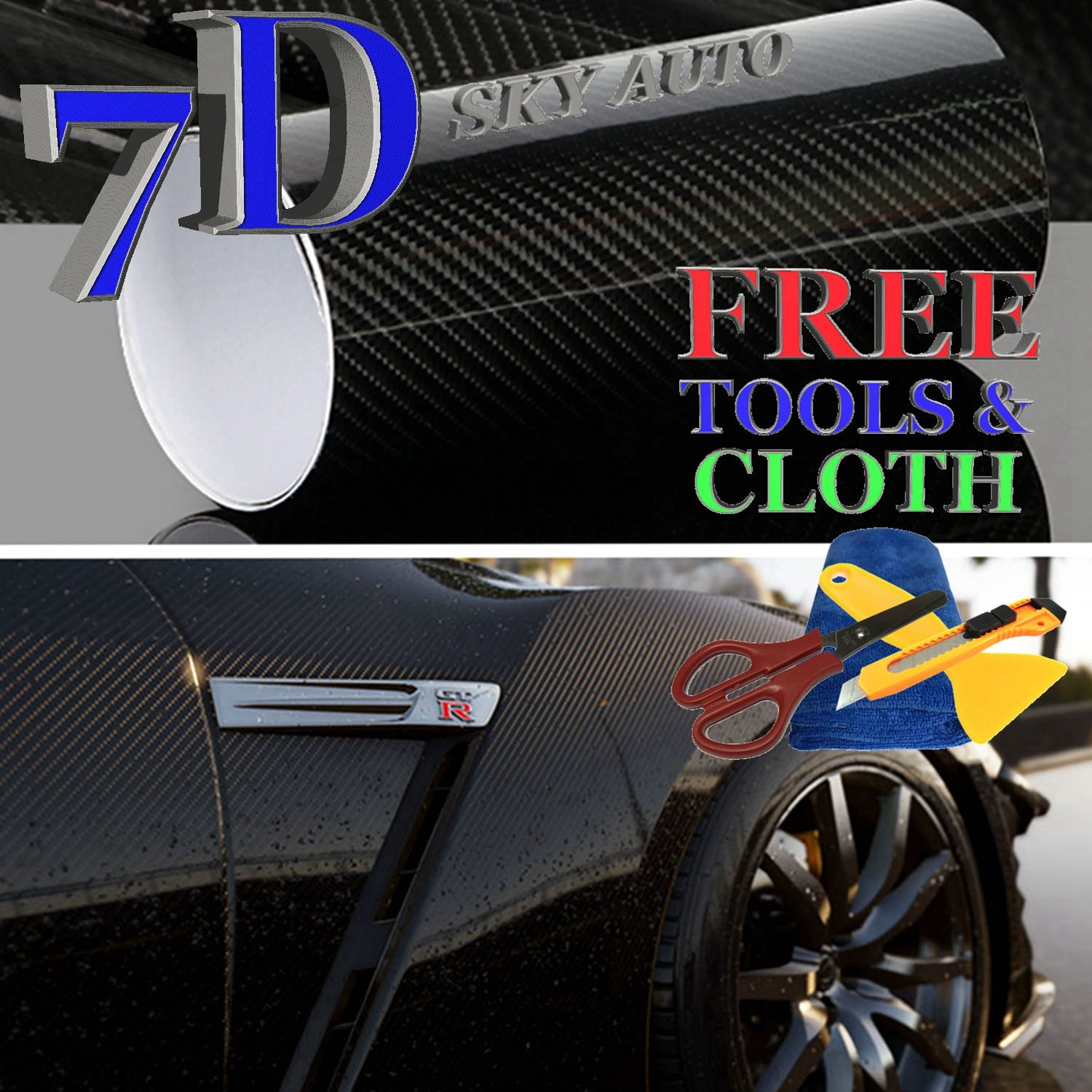 Sky Auto INC 7D Black High GLOSSY Carbon Fiber Vinyl Wrap Sheet With Air Release (15FT X 5FT - 180'' X 60'')