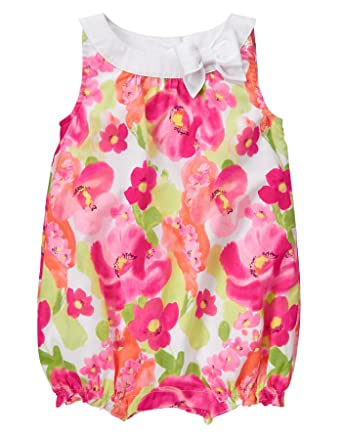 7d32df941 Amazon.com: Gymboree Baby Toddler Girls' Pink Floral Print Bubble Romper:  Clothing