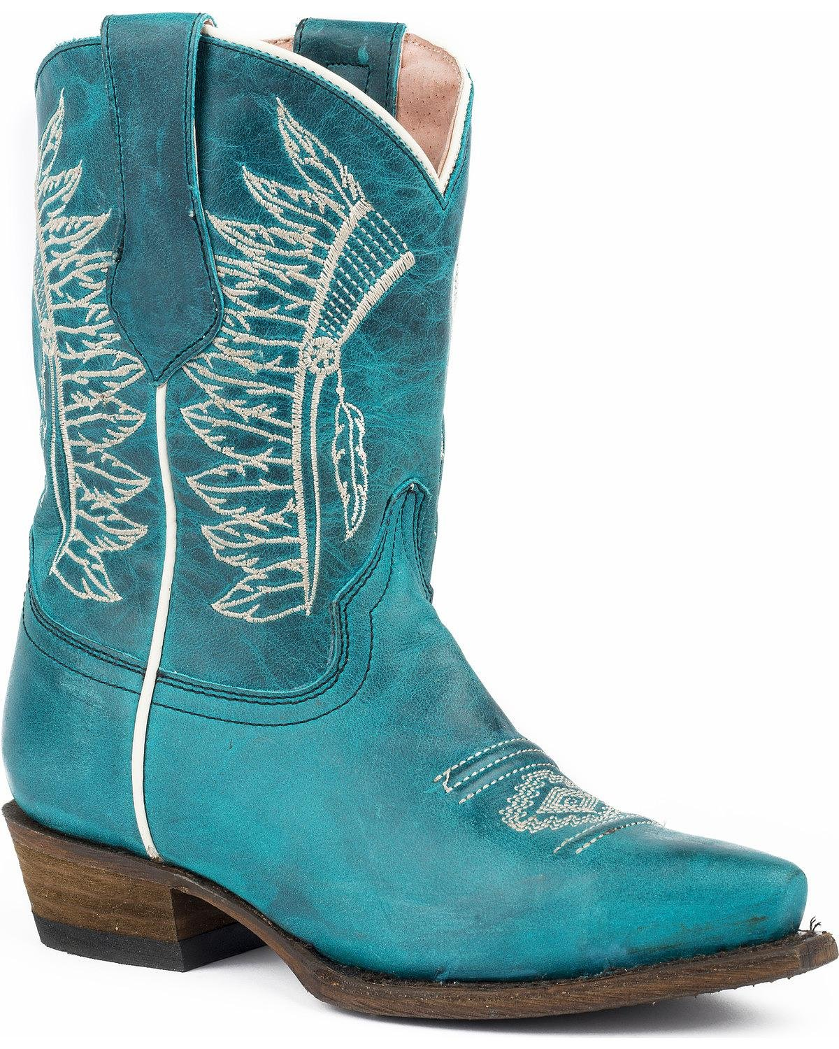 Roper Kids Chiefs Snip Toe Turquoise Boots B074QSW3PT 11 M US Little Kid|Turquoise Vamp/Headdress Embossed Shaft