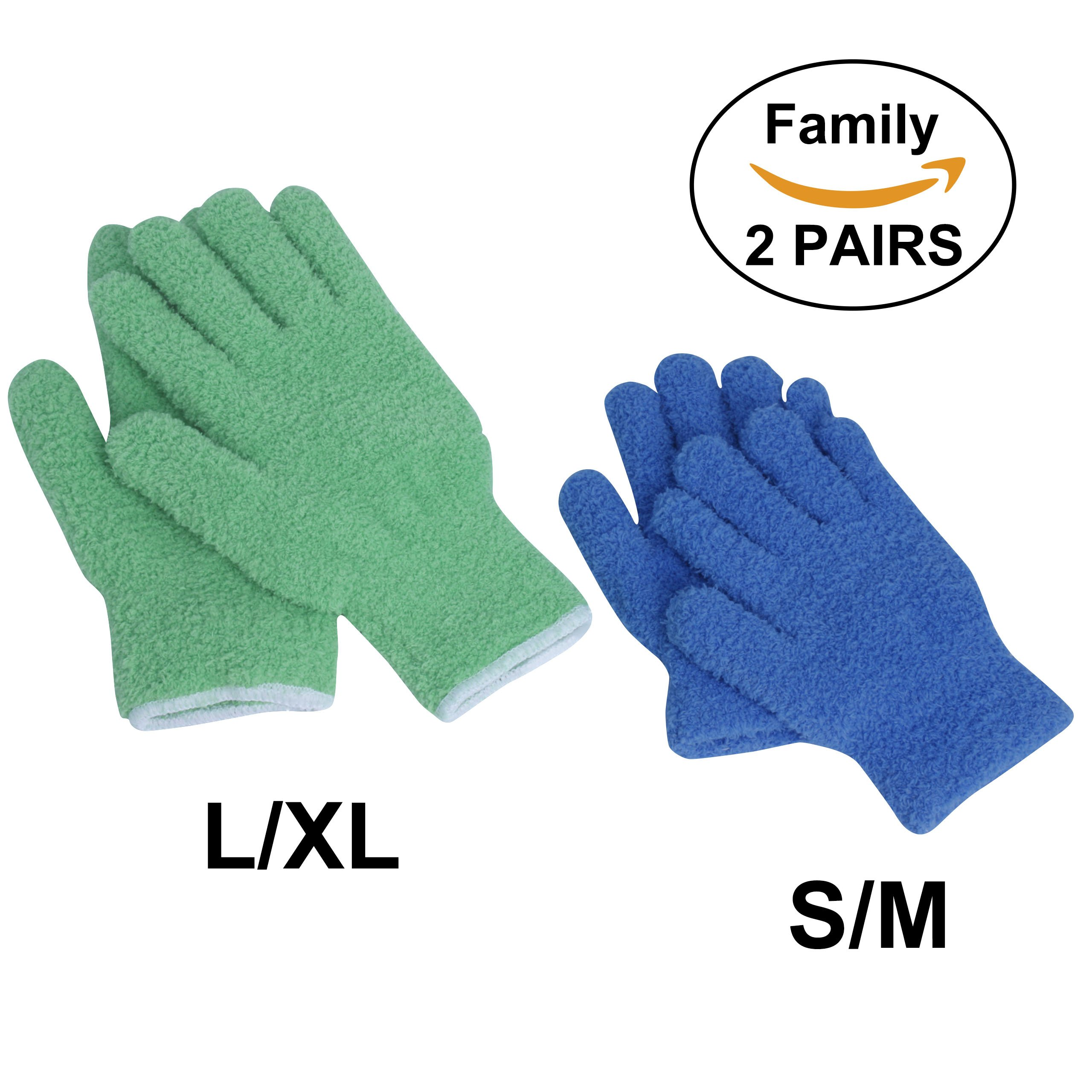 EvridWear Microfiber Dust Cleaning Gloves for house cleaning, perfect to clean mirrors, lamps and blinds. Auto Dusting Cleaning Gloves for Cars (Family Pack, 1 pair Size L/XL 1 pair Size S/M)