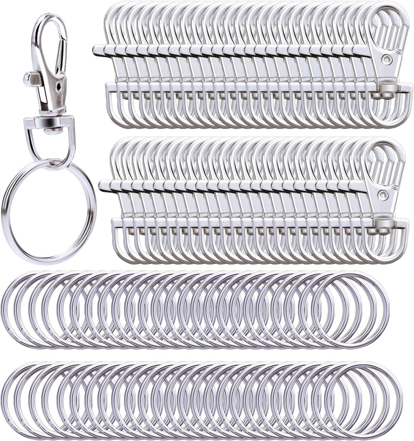 Paxcoo 150 Pcs Key Chain Hooks with Key Rings and D Rings Bulk for Lanyard Supplies Small Size