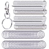 Livder Metal Swivel Lanyard Snap Hook Lobster Claw Clasp and Split Key Rings Chain, 100 Pieces
