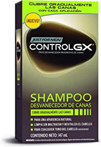Just For Men Control GX Shampoo Desvanecedor Progresivo de Canas, Cubre Gradualmente las Canas, 147 ml