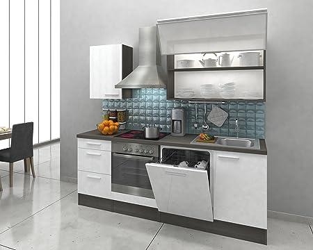 respekta Integrado Cocina Riga 220 cm Roble Gris Blanco ...