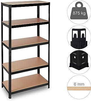 5 niveaux étagère noir entrepôt bricolage garage stockage rack étagère support