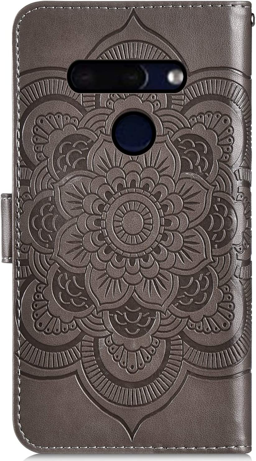 IKASEFU Compatible with LG G8 ThinQ Case Shiny Sun mandala Floral Rhinestone Pu Leather Diamond Bling Wallet Strap Case with Card Holder shockproof Magnetic Flip Bumper Cover,Blue