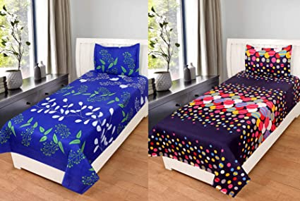 BSB Trendz Luxury Feel Glace Cotton 160 TC with 200 GSM Single Bedsheet With 2 Pillow Cover,Set of 2,Blue-Purple