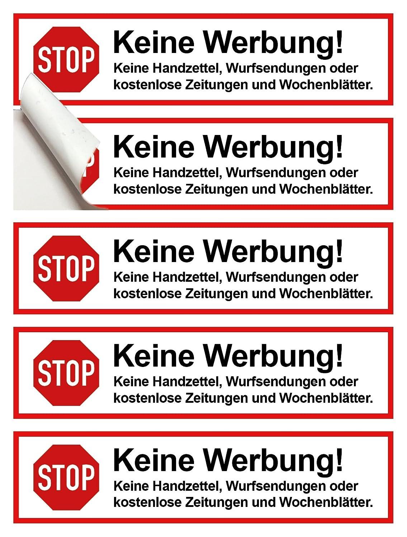 8 Stück Premium Stop Keine Werbung Und Kostenlose Zeitungen Aufkleber Werbung Einwerfen Verboten Briefkasten Aufkleber Werbung Unerwünscht Hinweis