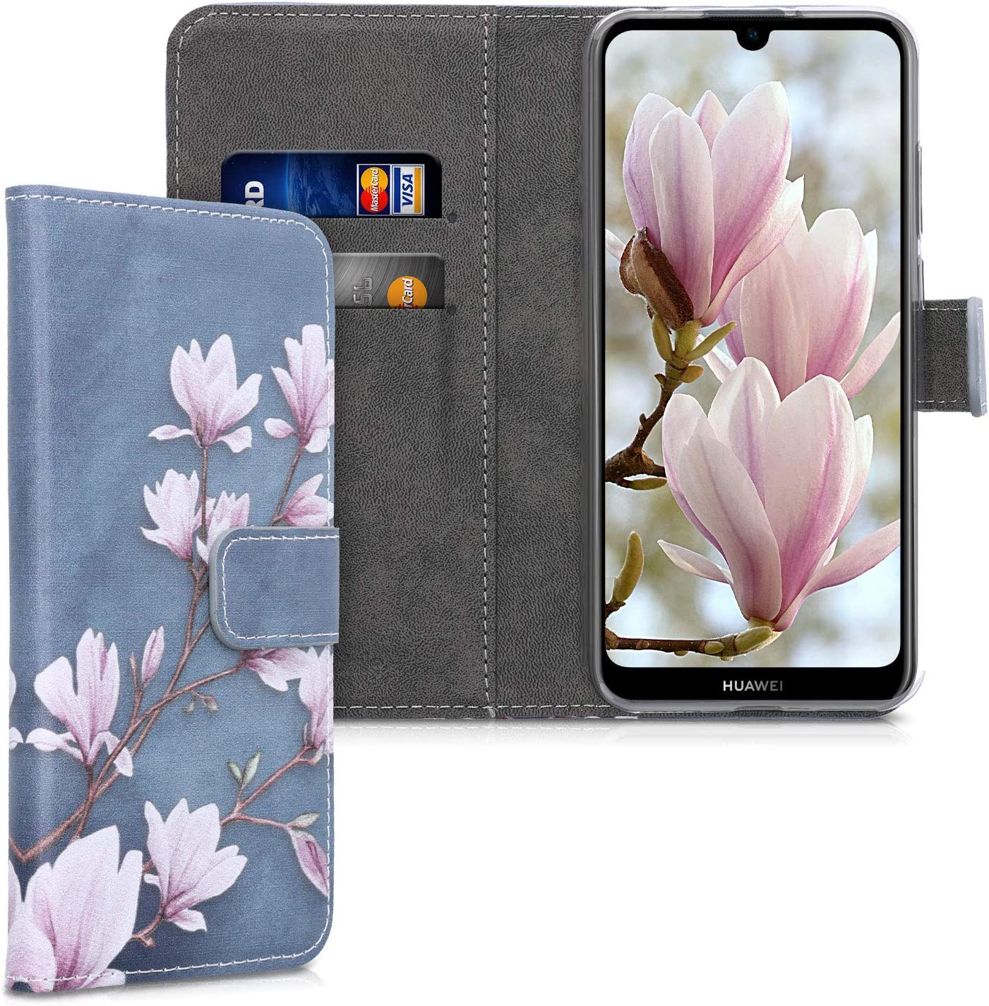 kwmobile Wallet Case Compatible with Huawei Y6s (2019) - PU Leather Flip Cover with Card Slots and Stand - Magnolias Taupe/White/Blue Grey