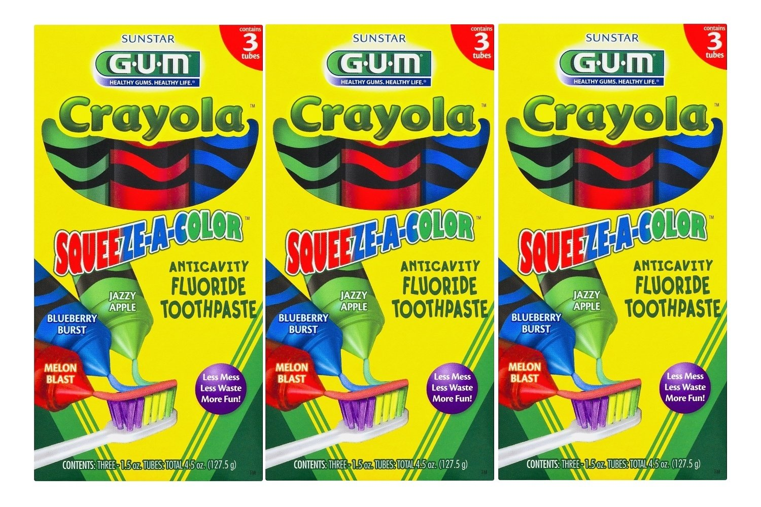 Sunstar GUM Crayola Squeeze-A-Color Anti-Cavity Fluoride Toothpaste 1.5 Ounce, 3 Tubes (Pack of 3)