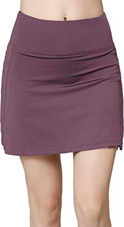 Oalka Women's Active Athletic Skirt Sports Golf Tennis Running Pockets Skort