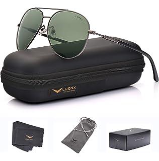 661b91f655 Amazon.com   LUENX Aviator Sunglasses Polarized Mens Womens Black ...