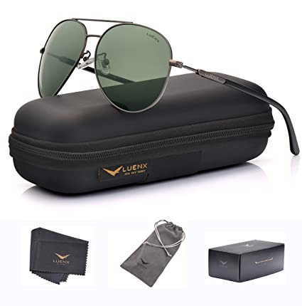 624674832f LUENX Mens Womens Sunglasses Aviator Polarized Dark Green Lens Gun Metal  Frame - UV 400 Protection
