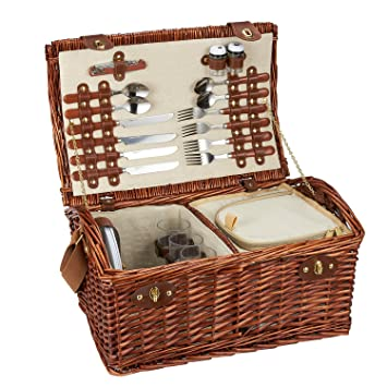 Lined Wicker Storage Basket With Picnic Supplies   Large 4 Person Lined  Wicker Picnic Supply Set