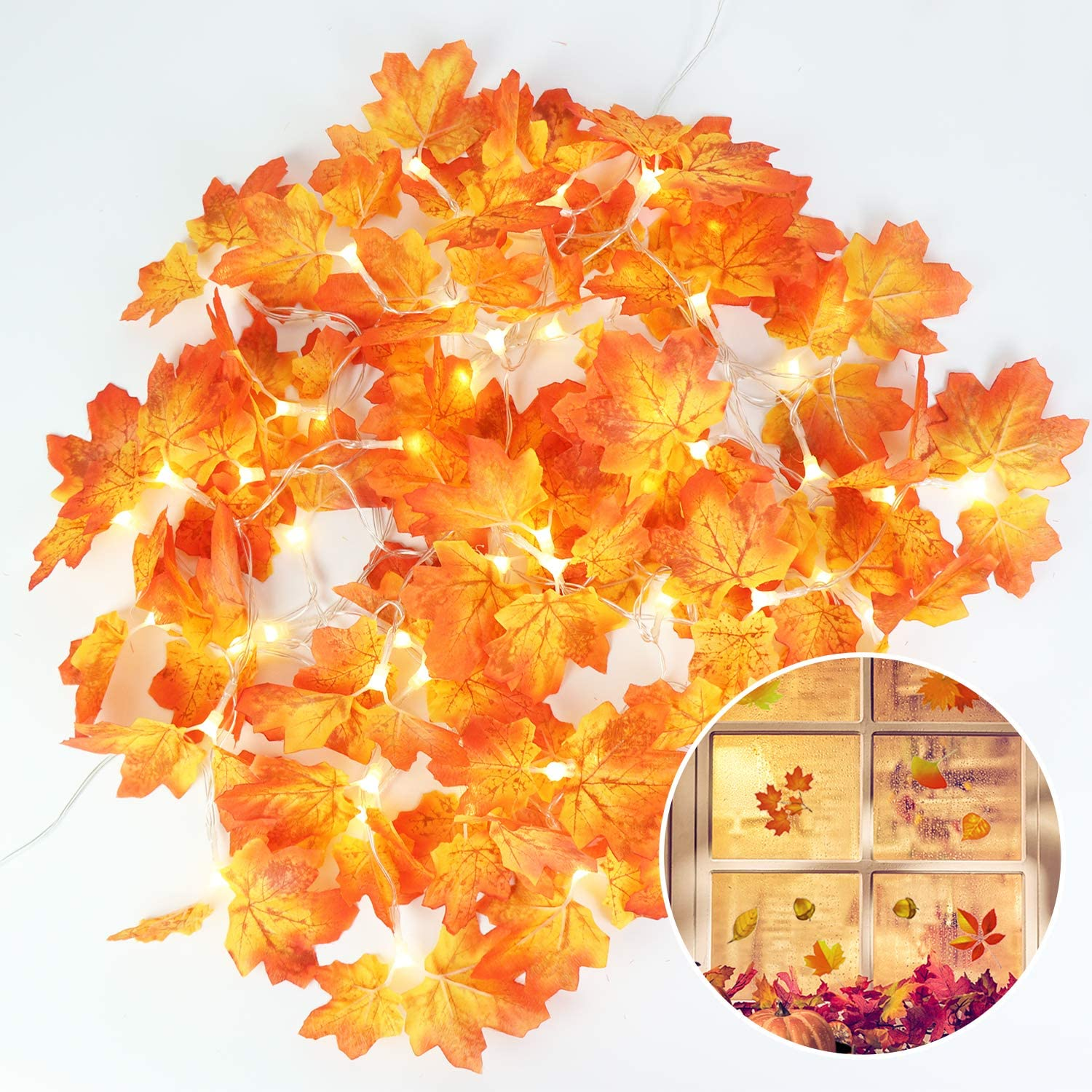 GPODER Thanksgiving Decorations Set,20 LED 8.2 FT Fall Garland Light 2 Pack for Gift Party Autumn Decor String Light (Warm White)