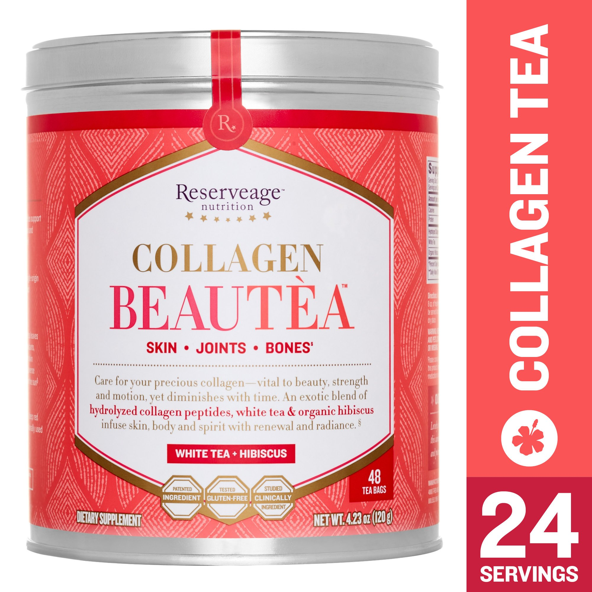 Reserveage - Collagen Beautea, Botanical Support for Joints, Bones, and to Help Reduce Wrinkles for Youthful Skin with Collagen Peptides, White Tea + Hibiscus, 4.23 oz (24 Servings)